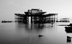 West Pier Low Tide-3 (Phil Steere) Tags: sunset sea west abandoned water metal sussex pier nikon brighton long exposure phil hove tide low ruin structure east tamron refelction steere