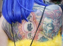 Female Portrait Tattoo (shaire productions) Tags: blue portrait woman flower art floral girl beauty tattoo lady female asian japanese photo back artwork colorful artistic feminine gorgeous blossoms chinese arts photograph kanji wig portraiture characters lovely shoulder bodyart tat pinup backpiece skinart