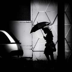 Dancing hair (. Jianwei .) Tags: street urban woman wet against girl car rain station silhouette vancouver contrast umbrella hair mood waterfront wind walk 365 moment timing 剪影 雨 伞 a500 jianwei 雨伞 kemily absoluteblackandwhite 2013syzy