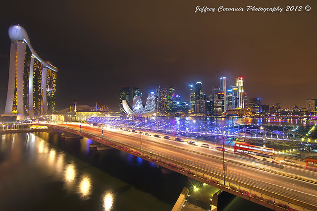 The Vantage Point of Marina Bay Sands, Helix Bridge and Central Business District