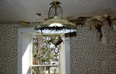 water damage and light fixture