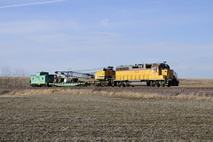 UP Work Train (Philip_Martin) Tags: chicago up wisconsin adams pacific crane south sub union north line caboose mow western wi lowell randolph subdivision cnw maintance