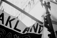 Protest Hero (Tricityterror) Tags: blackandwhite film oakland protest streetphotography documentary c41 nikonfg oscargrant