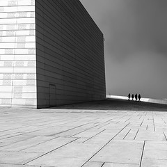 ... (Zen Roxy) Tags: light shadow blackandwhite bw building lines architecture square squareformat bsquare oslooperahouse distagon2128ze