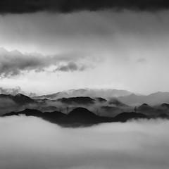 mountain mist (StephenCairns) Tags: morning blackandwhite bw mist mountain japan clouds explore powerlines     gifu hydrolines   motosu   hydrotowers  canon50d stephencairns 70200mmf4isusm mountainlayers 50dcanon  motosucity