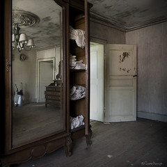 the skeletons are out (moggierocket) Tags: door wood old abandoned mirror bedroom floor cabinet linen bare chandelier ornaments weathered wardrobe dust opendoor artlibres