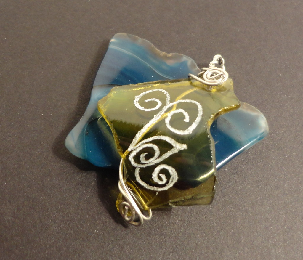 wire wrapped recycled glass pendant. Wire Wrapped Hand Etched Glass Pendant (Etch Delight) Tags: Art Fashion Recycled