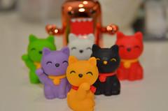 Domo & Kittens! (WindUpDucks) Tags: orange cats cat metallic eraser kittens lucky domo qee erasers