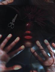Blinded - Scan Photography (Sara Dell'Antoglietta) Tags: me self dark hurt hands moody blind lips scissors whisp selfie scanphotography whisperingfingertips