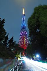 P5030375 (Zengame) Tags: longexposure tower japan architecture night pen tokyo illumination landmark olympus illuminated jp  tokyotower  zuiko   penf     mzuiko 12mmf20 mzuikodigitaled12mmf20 livecomposite