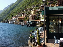 Argegno Ferry Landing - Lake Como - Lombardy  Italy (Gilli8888) Tags: trees windows italy mountains alps ferry architecture buildings chairs streetlights lakes lakecomo lombardia lombardy ferrylanding italianlakes argegno
