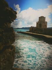 (annasala) Tags: sea sky castle view angle greece attraction mediaeval kalamata bricked