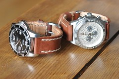two of my new leather watchstraps. Finally done! (Mika Lehtinen) Tags: armband leather diy hand watches handmade watch craft made strap how ur longines saddle egen stich breitling crafted stiching watchstrap lder klockor sjlv handgjord