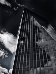 Cloud Washing (Feldore) Tags: fiction england building london english window glass skyline clouds skyscraper reflections cleaners olympus science cleaning reflected scifi mchugh futuristic em1 1240mm feldore