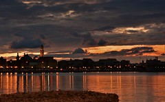 DSC_4663_Resize (andtede) Tags: longexposure sunset sea italy seascape night clouds reflections landscape lights cityscape thunderstorm puglia bari