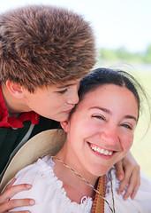 Kiss for Mom (wyojones) Tags: boy woman girl kiss texas mother houston son independence pioneer frontier reenactor texan deerpark coonskincap civilians texican sanjacintoday sanjacintobattlefieldstatehistoricalpark sanjacintobattlereenactment