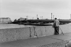 Saint Petersburg (s.luzin) Tags: bridge bw film river stpetersburg fisherman ilford zuiko neva olympus35sp