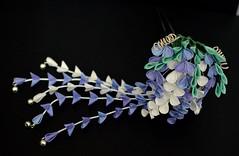 Wisteria kanzashi. Handmade maiko henshin. (Bright Wish Kanzashi) Tags: fuji purple handmade silk violet lilac wisteria originaldesign kanzashi tsumamizaiku customfuji