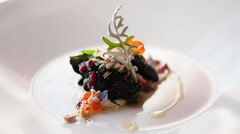 Inked Salmon, Pungent Ricotta Cheese, Shaved Frozen Foie Gras, Red Berries & Absinthe Leaves (armandocapochiani) Tags: italy food black art colors closeup ink menu photography mediterraneo italia salmon plate master creation squid chef absinthe dishes armando foodart salento puglia roe culinary cibo assenzio d3 finedining cucina plating smoked piatti foodphotography samon impollinazione cucinacreativa capochiani armandocapochiani ricottascanta