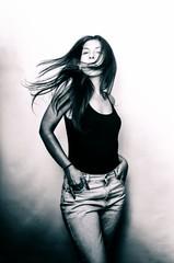 Sis (Johnidis) Tags: portrait bw woman monochrome fashion female hair nikon sister style windy bnw d5100 johnidis