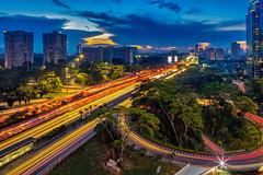 Semanggi Bridge - Jakarta, Indonesia (bryansurya_94) Tags: longexposure travel sunset skyline buildings indonesia architechture cityscape traffic explore jakarta bluehour metropolitan semanggi