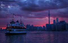 Toronto Sundown (Westhamwolf) Tags: city sunset lake toronto ontario canada tower ferry cn island