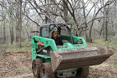 Alison Ward AKA Big Red in the bobcat... (habitablespaces) Tags: new york art construction artist texas shane farm farming ward alison residency seguin spaces wwoof wwoofing heinemeier habitable wwoofers
