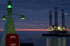 Esbjerg mood (dans le grand bleu) Tags: sunset green ice denmark evening harbour northsea rig danmark drillingrig harbourentrance semcomaritime safeesbjerg
