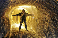 The Night Nutters strike again (JRT ) Tags: longexposure hot night dangerous nikon tunnel burning sparks orbs nutters steelwool wirewool shrewleytunnel d300s steelwoolspinning wirewoolspinning wirewoolburning johnwarwood steelwoolburning flickrjrt thenightnutters