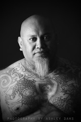 Hard (Ashley Daws) Tags: new portrait bw white black tattoo gangster hard gang mob zealand nz maori mongrel quadra elinchrom strobist