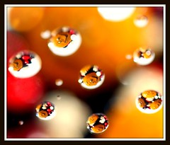 #13  BOKEH (marsha*morningstar) Tags: red white yellow balls smileyface bokehballs blackbokeh bokehmacroerpcweeklychallenge