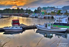 Murray Harbuor, Prince Edward Island sunset (PhotosToArtByMike) Tags: canada marina boat scenic princeedwardisland fishingboat pei waterreflection docking boatdock boatslip murrayharbour landscapephotograph