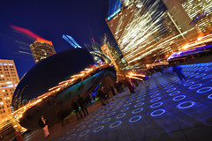 Tilted Bean (Seth Oliver Photographic Art) Tags: nightphotography chicago buildings reflections illinois nikon midwest nightlights skyscrapers iso400 cityscapes skylines milleniumpark nightshots bluehour theloop thebean pinoy nightscapes urbanscapes secondcity lightstreaks windycity longexposures chicagoist cityskylines d90 cloudgatesculpture nightexposures 2secondexposure cityofbigshoulders aperturef35 zoomouts manualmodeexposure setholiver1 bluehourphotography circularpolarizers tripodmountedshot remotetriggeredshot 1024mmtamronuwalens croppedforcomp luftwerk luminousfield