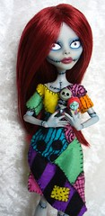 Monster High custom - Sally from Nightmare Before Christmas (redmermaidwerewolf) Tags: handmade ooak felt sally custom mattel nightmarebeforechristmas repaint nightmarebeforexmas ghoulia monsterhigh ghouliayelps