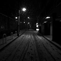 (noji-ichi) Tags: street light bw snow japan night tokyo track trail   gr  ricoh  grd
