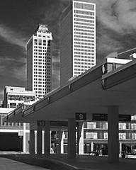 Terminal portrait B&W (ludwigvan66) Tags: blackandwhite oklahoma skyscraper downtown minolta rangefinder terminal tulsa himatic 45mm busstation downtowntulsa portra160 kodakportra160 himatic9 mtta
