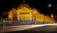 Flinders (Marek Stanjo) Tags: city longexposure night australia melbourne victoria trainstation lighttrails flinders