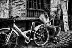 Manong Pi [Explored] (Meljoe San Diego) Tags: street bw mono fuji philippines x10 ilocossur manong vigancity policeintern meljoesandiego