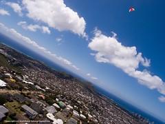 Diamond head and kite (bSlaney) Tags: city blue kite water brad landscape hawaii image oahu photos levitation sunny delta aerial photographs tropical honolulu kap rise 2012 slaney kaimuki wilhelmiina bslaney stratusphoto
