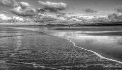 One Man and His Dog (Steve _ C) Tags: uk sea bw white black beach wales clouds canon mono coast sand 1740 2012 porthcawl sker kenfig eos5dmk11 thesundayclub stevechatman