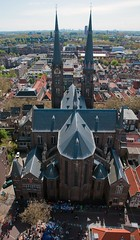 Church (Frans Persoon) Tags: from above birthday street old city houses party panorama orange tower church netherlands dutch festival photography nikon scenery view market maria scenic nederland scene delft celebration queens van typical nikkor flea kerk 2012 queensday nieuwe koniginnedag d300 foklore jessekerk