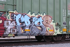 Ergs (Benching In The West) Tags: railroad color art bench graffiti artist streak letters trains rails sue 100 boxcar graff railfan snot boxcars tagger freights rollingstock markal iser monikers ergs u4ik benching sue57