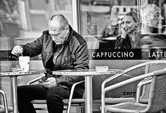 Coffee break (tootdood) Tags: people blackandwhite coffee manchester sitting break piccadilly sit seated fromthehip admirer streetcandid canon600d
