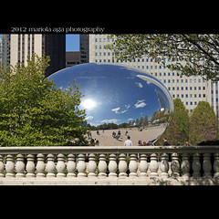 Masterpieces of art (mariola aga ~ vacation OFF) Tags: park trees sky sculpture chicago reflection clouds buildings square skyscrapers milleniumpark cloudgate thebean balustrade thegalaxy