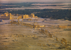 Panorama of The Ancient Roman city of Palmyra, Syria (Eric Lafforgue) Tags: city travel sunset color colour history abandoned monument horizontal architecture outdoors photography sand ancient day desert roman middleeast aerialview nopeople panoramic aerial unescoworldheritagesite unesco 451 valley syria column majestic ancientcivilization palmyra thepast palmira ruined traditionalculture levant tadmor traveldestinations colorimage famousplace greekculture placeofinterest oldruin unescoworldheritagelist internationallandmark ancientcivilisation mediterraneanculture syriandesert builtstructure syrianculture westernasia architectureandart middleeasternculture