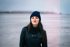 (listenann) Tags: blue winter portrait woman snow black cold ice girl beautiful beauty look leather canon river 50mm spring cool eyes russia bokeh longhair like atmosphere follow jacket  lonesome