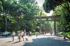 Torii at Meiji Jingu (Pikaglace) Tags: park people tree green japan forest tokyo blurry shrine long exposure sony exposition japon a7 meiji fort contrejour bois gens jingu sanctuaire flous longue