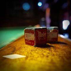Chalk (tim.perdue) Tags: street old blue columbus ohio red green colors pool bar club table chalk high bokeh den north master cube billiards dicks