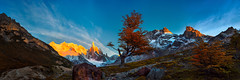 Golden Sierra (Bruce_Hood) Tags: panorama patagonia mountains tree landscape pano panoramic alpine