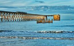 Steetley Evening (Peeblespair) Tags: blue england seascape pier industrial northsea steetleypier peeblespairphotography